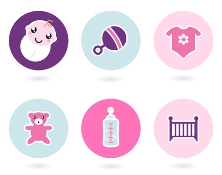 newborn baby girl: Childrens and baby icon set. Vector Illustration.