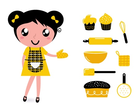apron: Cute retro cooking woman with items. Vector cartoon Illustration