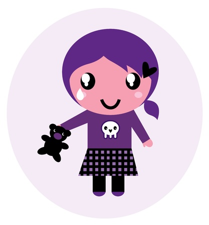 Little emo girl drawing. Vector Illustration. Stock Vector - 12481391