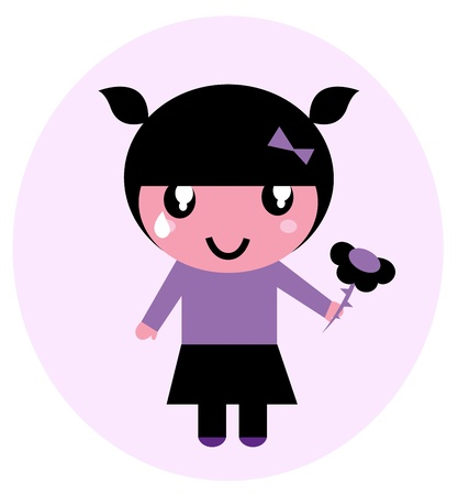Little emo girl drawing. Vector Illustration. Vector