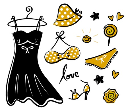 sexy birthday: Vector doodle set of yellow fashion accessories or items for woman.