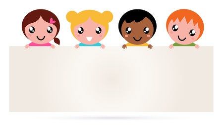child learning: Multi ethnicity children holding a blank banner. Vector Illustration