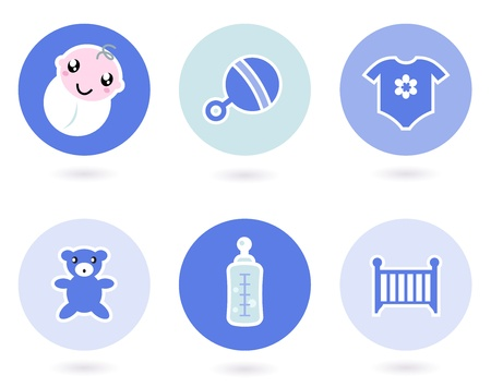 Baby boy blue icons collection. Vector Vector