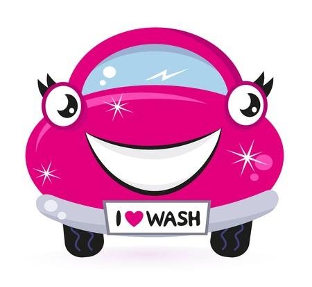autolavado: Lavado de coches - del automóvil felices de dibujos animados de color rosa. Vector