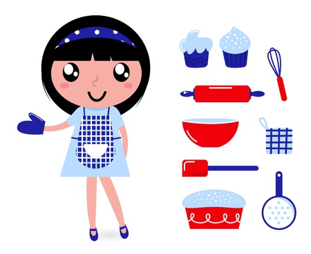 chefs show: Cute retro cooking woman with items. Vector cartoon Illustration