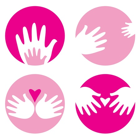 Caring hands - Children's and mother hands. Vector