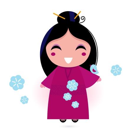 donna giapponese: Stilizzato donna carina giapponese. Vector illustration