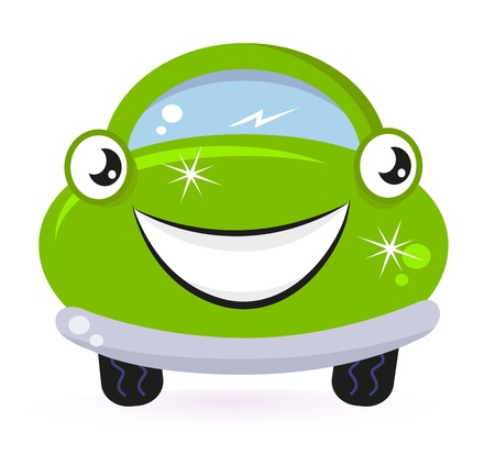 Car wash - happy green cartoon automobile. Vector Illustration