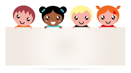 Multi ethnicity children holding a blank banner. Vector Vector