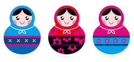 wooden doll: Traditional russian Matrioshka dolls. Vector Illustration