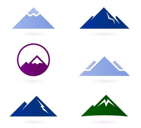 monta�as nevadas: Las monta�as y colinas iconos para el dise�o de su aventura. Ilustraciones Vectoriales