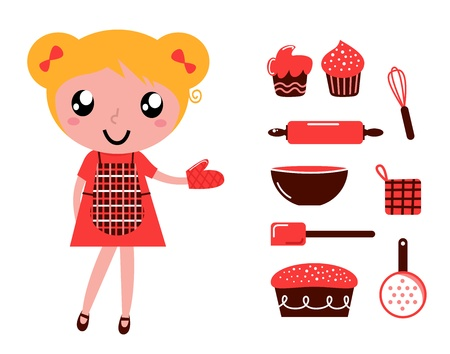 feminity: Retro baking girl - vector cartoon Illustration