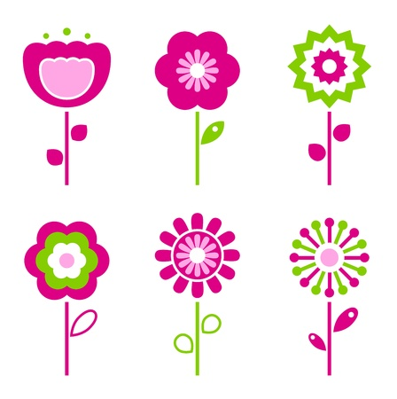 Collection of green and pink retro spring flowers - vector Vector