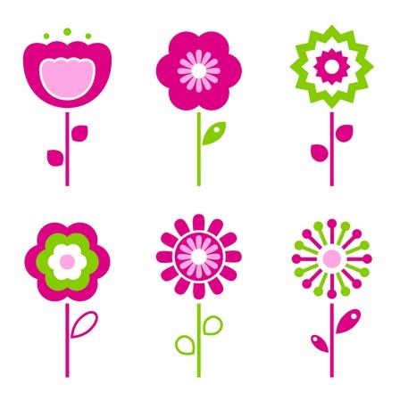 flor caricatura: Recolección de flores de la primavera verde y rosa retro - vector