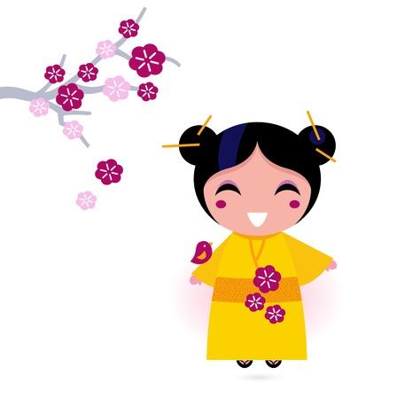flor de sakura: Linda chica poco de japonés. Ilustración vectorial