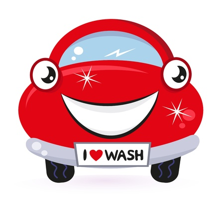 세탁기: 세차 - 행복 빨간색 만화 자동차. 벡터 일러스트