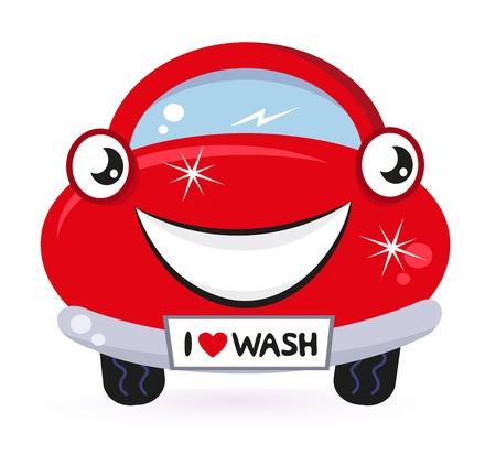 autom�vil caricatura: Lavado de coches - del autom�vil rojo de dibujos animados feliz. Vector