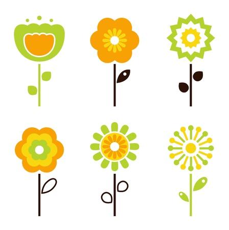 flor caricatura: Conjunto de coloridas flores de primavera retro. Vector