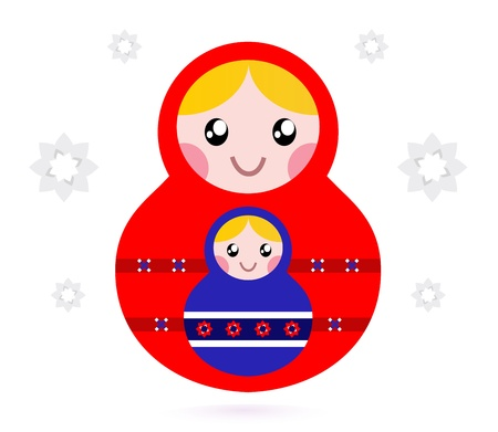 Russian nested dolls, also known as Matryoshka. Vector Vector