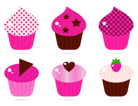 cup cakes: Cupcakes icons collection. Vector cartoon