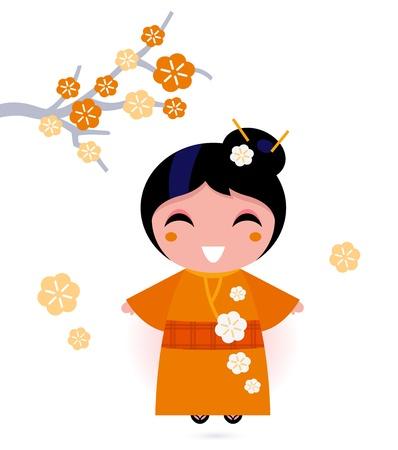 muneca vintage: Mujer japonesa linda. Ilustraci�n vectorial Vectores