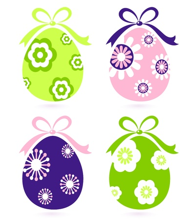 white daisy: Easter eggs collection. Vector Illustration