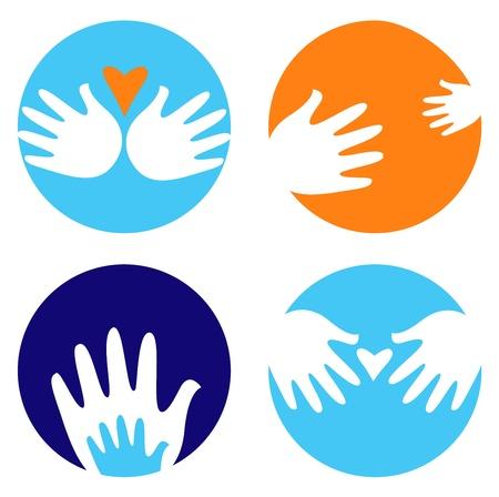 humanidad: Iconos y s�mbolos de mano en c�rculos. Vector Vectores