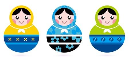 Traditional russian Matrioshka dolls. Vector Illustration