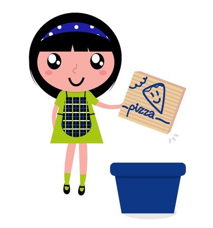 educazione ambientale: Bambino con cestino blu isolato su bianco. Illustrazione Vettoriale.