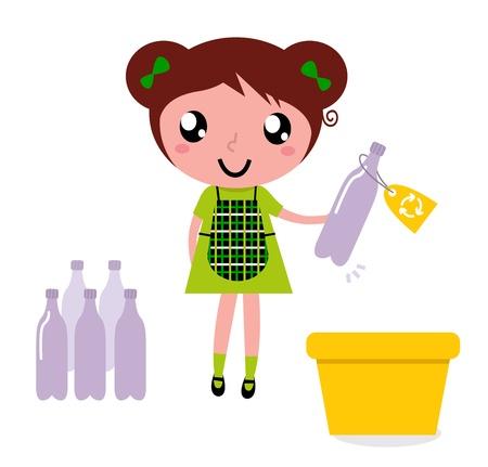 recyclage plastique: Fille avec bac de recyclage isol� sur fond blanc. Illustration Vecteur.