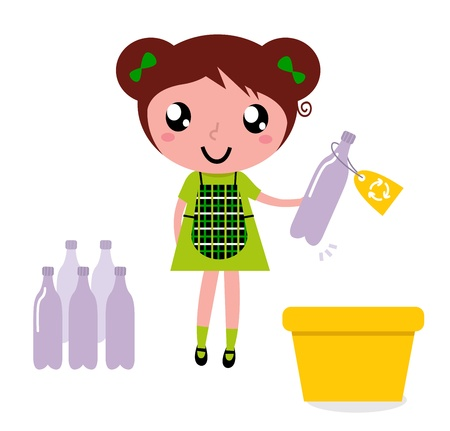 reciclar basura: Muchacha con el contenedor de reciclaje aislado en blanco. Ilustraciones Vectoriales.