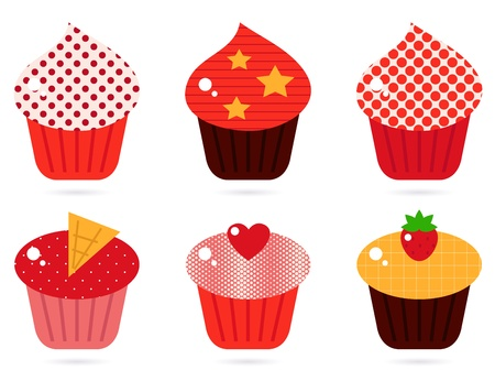 Cupcakes icons collection. Vector cartoon Stock Vector - 12481525