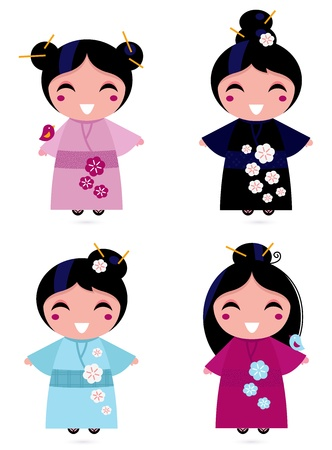 Little japan girls collection. Vector Illustration Vector