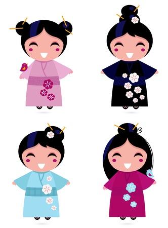 muneca vintage: Poco jap�n chicas colecci�n. Ilustraciones Vectoriales