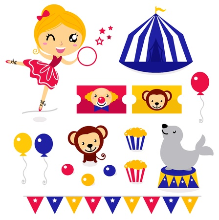 fondo de circo: Diseño de elementos de la colección del circo. Vector de dibujos animados Vectores