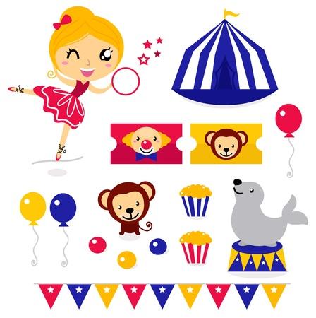 clown cirque: La conception du cirque éléments de collecte. Vector cartoon