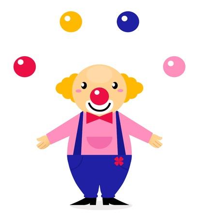 juggling: Divertido payaso - car�cter vectorial de dibujos animados Vectores