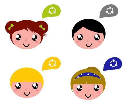 reciclaje de papel: Los niños con coloridas etiquetas de reciclaje. Vector de dibujos animados
