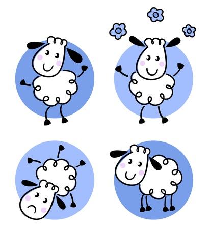 幸せな落書き羊のセット。ベクトル漫画  イラスト・ベクター素材