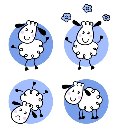 Happy doodle sheep set. Vector cartoon Ilustracja