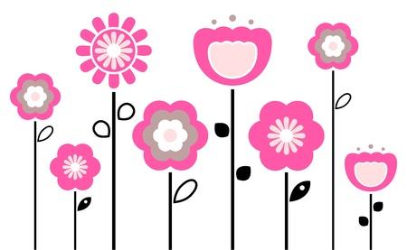 stylized design: Stilizzati fiori astratti rosa e nero. Vettore