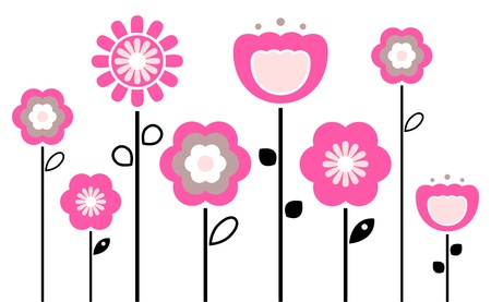 Stylized abstract pink and black flowers. Vector Illustration