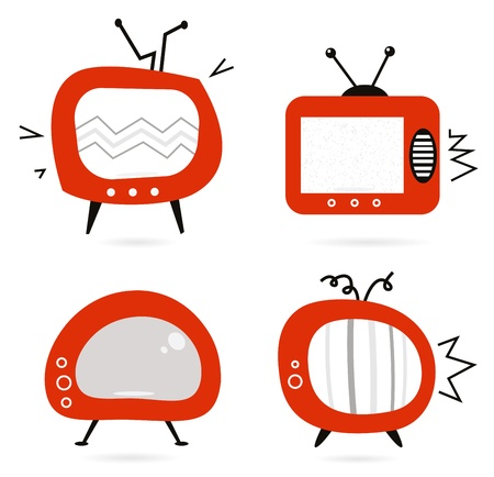 space television: Retro television set. Vector cartoon illustration