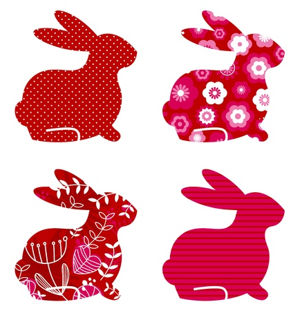 minimalist design: Spring patterned bunny collection. Vector
