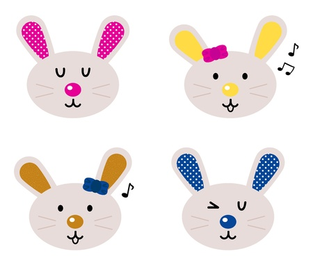 Cute simple eastern bunny characters. Vector cartoon Illustration Vector