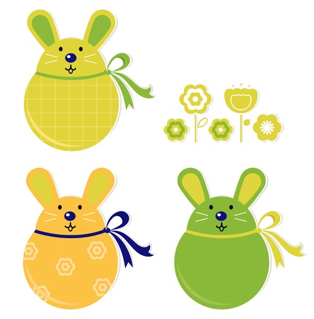 Easter bunnies collection isolated on white. Vector Vector