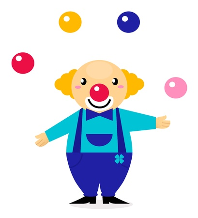 juggle: Happy cute clown isolated on white. Vector Illustration.
