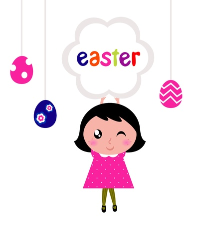 pink dress: Girl with easter banner and eggs. Vector cartoon Illustration. Illustration