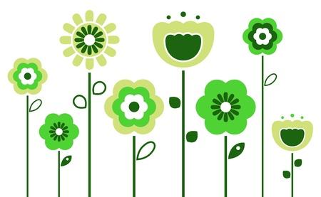 dessin fleur: Stylis�es abstraites fleurs vertes. Vecteur Illustration