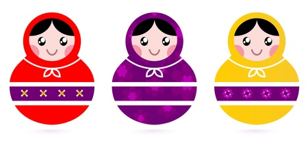Cute colorful Russian Dolls. Vector Illustration Vector